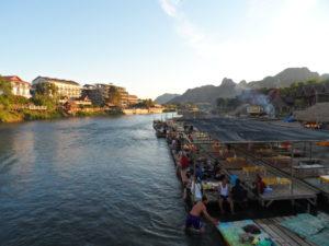 Riverside huts, Nam Song river, Vang Vieng, Laos