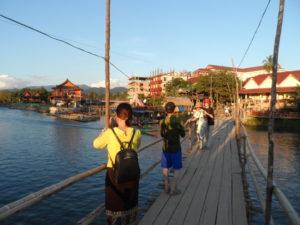 Bamboo bridge in the centre of Vang Vieng, Laos