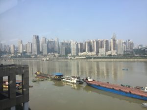 Chongqing skyline from the 'subway' train